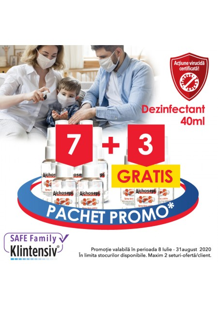 Pachet 1 Safe Family - 30% discount: 7 Alchosept 40 ml + extra 3 Alchosept 40 ml - gratis